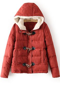 Brick Red Plain Pockets Thick Flocking Padded Coat