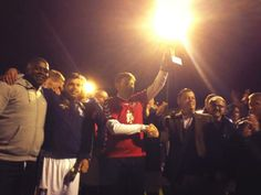 Chris Waddle presents the trophy for the winners, Sheffield FC, Pioneers Cup 2013