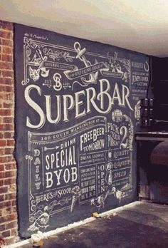 Chalk Menu in a basement. like the brick and chalkboard wall together. definitely need a chalkboard wall to do designs; Chalkboard Typography, Blackboard Wall, Chalk Wall, Chalk Lettering, Chalkboard Designs, Chalk Board Wall Ideas, Chalkboard Wall Kitchen, Chalkboard Restaurant, Chalkboard Drawings