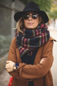 Cozy up this fall in thick plaid scarves. They're on-trend & perfect for cool fall evenings.