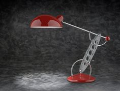 Lampada da tavolo in acciaio cromato,plexiglass e alluminio verniciato