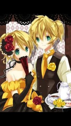"Rin and Len wearing the clothes from the ""Aku no Musume"" and ""Aku no Meshitsukai"""