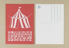 Muumuru postcard: Circus Tent Get Excited, Atari Logo, Postcards, Tent, Logos, Store, Logo, Tents, Greeting Card