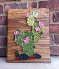 Cactus Cacti Wood Sign string art succulent Rustic Decor Beautiful Western Desert Cactus Stained Wood Decoration Baby Gift Nursery Wedding by millyandoak on Etsy