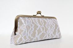 custom : linen & lace personalized clutch, bridesmaid gift, choose your fabrics. $55.00, via Etsy.