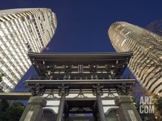 Asia, Japan, Tokyo, Temple and Skyscrapers Photographic Print