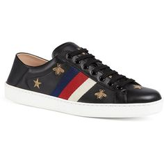 2d0fe22120d Gucci New Ace Foldback Bee Leather Sneakers ( 730) ❤ liked on Polyvore  featuring men s