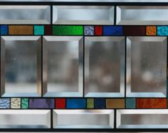 Large Beveled Stained Glass Window Panel