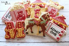 Circus Birthday Cookies, Carousel Horse Cookies, Circus Party, Carnival Party Favors, Popcorn Cookies, Ticket Cookies, Circus Letter Cookies by Bakinginheels on Etsy https://www.etsy.com/listing/263261946/circus-birthday-cookies-carousel-horse