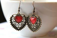 "Retro ""Red Hearts"" Earrings"