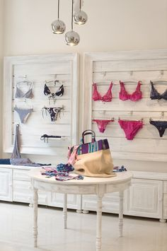 white visual merchandising displays   visual merchandising in Christies exclusive lingerie boutique