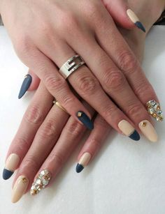 matte nude, black & gold nails design