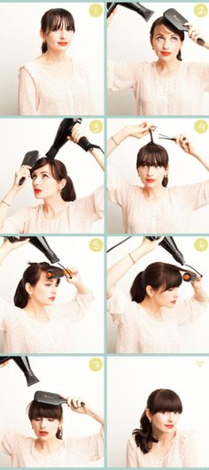 How to properly blow dry my bangs. Forget the blow dry, I love the bangs, but the starting at the back of my head? I'm afraid I'd lose all the hair on the sides. Hairstyles With Bangs, Diy Hairstyles, Pretty Hairstyles, Bangs Hairstyle, 1950s Hairstyles, Hairstyle Tutorials, Easy Hairstyle, Style Hairstyle, Hairstyle Ideas