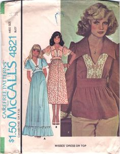 Vintage 1970s McCall's Lace Trimmed Dress or Peplum Top Sewing Pattern B36