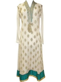 PAKISTANI ANARKALI by designer Sobayha from sobayha.com. A-line three peice-suit, with a stunning jamewar border. Available in White and Turquoise & Beige and Red. See more at: https://www.sobayha.com/catalogue/pakistani-anarkali_260/