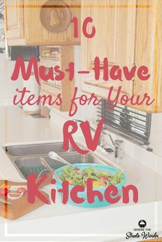Cooking in a small space can be challenging.  But shopping for new spacing saving gadgets can be fun!  These 10 must-have items for your RV kitchen are things I can't live without.  We have been living full-time in our RV for the past year and these items are used almost daily. via @streetswander (scheduled via http://www.tailwindapp.com?utm_source=pinterest&utm_medium=twpin)