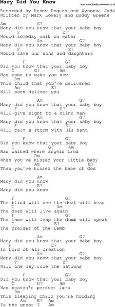 Christmas Songs and Carols, lyrics with chords for guitar banjo for Mary Did You Know