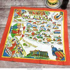 Oklahoma Map Flour Sack Cotton Souvenir Kitchen Towel   Kitchen Linens   RetroPlanet.com