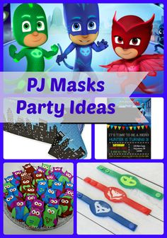 PJ Masks Birthday Party Ideas and Themed Supplies - Plenty of great ideas for decorations, invitations, favors, cake, food, games and more | Birthday Buzzin