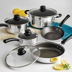 9-Piece Tramontina Simple Cooking Nonstick Cookware Set Polished...