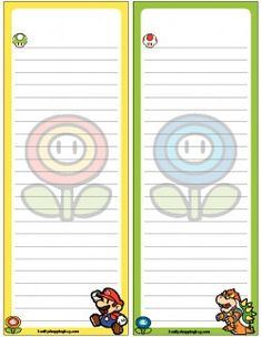 Mario Printable Coloring Pages, Invitations & Free Printable Bookmarks, Stationary Printable, To Do Lists Printable, Mario Bros, Mario Brothers, Mario And Princess Peach, Borders For Paper, Mario Party, Stationery Paper