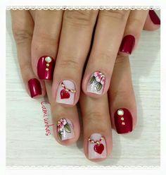 Valentine Nail Art, Nail Polish Colors, Cute Nails, Nail Designs, Chic, Beauty, Red Toenails, Short Nails, Vivid Colors