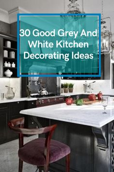 30 Good Grey And White Kitchen Decorating Ideas #kitchendecoratingideas Gray And White Kitchen, Grey And White, Kitchen Decor, Kitchen Design, Office Desk, Decorating Ideas, Modern, Furniture, Home Decor
