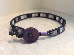 SIngle Wrap Bracelet Black Currant Tila Leather by LilPumpkinBeads, $17.00