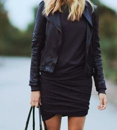 leather moto jacket & ruched black dress