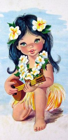 Vintage Big Eyed Hula Girl Postcard