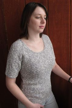 Perfect basic tee sweater.   Knitting Pure and Simple - 283 - Neckdown Scoop Neck T Shirt