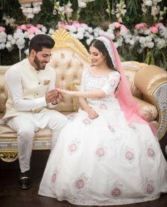 #pakistaniweddings #bride #groom #engagement Pakistani Dresses, Vows, Muslim, Latest Trends, Engagement, Outfits, Bride Groom, Design, Wedding Ideas