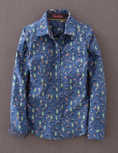Autumn Preview @BodenClothing The Shirt Blue Jay Autumn Birds. Love! Pretty bird print with polka dot lined collar and cuffs! ✔️