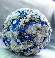 Brooch Bouquet  Jeweled Bouquet  Pearl Bouquet by SaiLinKaHandmade, $300.00
