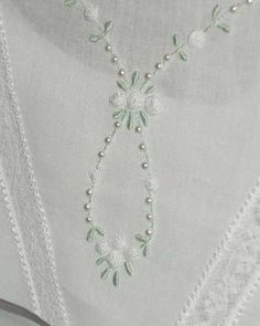 Seed pearls and hand embroidered boullion roses - There are lots of other pictures of the details of this dress. Silk Ribbon Embroidery, Beaded Embroidery, Embroidery Stitches, Embroidery Patterns, Hand Embroidery, Art Du Fil, Communion Dresses, Heirloom Sewing, Sewing Crafts
