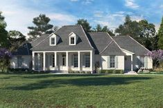 Plan Downsized Southern Home Plan With Outdoor Grilling Porch - House Plans, Home Plan Designs, Floor Plans and Blueprints Acadian House Plans, French Country House Plans, Southern House Plans, Southern Homes, Cottage House Plans, New House Plans, Dream House Plans, Cottage Homes, House Floor Plans