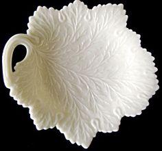 Leaf Shape Bonbon Dish, Milk Glass, Fenton Art Glass