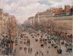 Boulevard Montmartre by Camille Pissarro, 1897 #art #painting #Impressionism #Camille #Pissarro #Paris #Boulevard #Montmartre
