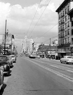 Granville Street, 1949 Source: BC Archives #I-27926 Vancouver Bc Canada, Vancouver City, Suspension Bridge Vancouver, Time Travel, Places To Travel, Granville Street, Past Tense, Vintage Pictures, Historical Photos