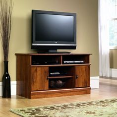 "TV Stand Console Cabinet Entertainment Center Open Storage Wood Tone Finish 43"" #Sauder #Contemporary"