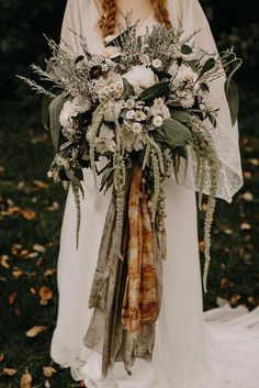 Wildflower Bridal Bouquet with Ribbon Foliage Nude Bohemian Wedding Inspiration by Wonderland Invites Rock The Day Styling Kelsie Low Photography Wildflower Bridal Bouquets, Boho Wedding Bouquet, Boho Wedding Flowers, Boho Wedding Decorations, Wedding Flower Arrangements, Bride Bouquets, Bridesmaid Bouquet, Floral Wedding, Wedding Dresses