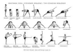 Photos de cours et Postures Ashtanga Vinyasa Yoga - TriniYoga Yoga Kundalini, Ashtanga Vinyasa Yoga, Yoga Iyengar, Seated Yoga Poses, Standing Yoga Poses, Yoga Poses For Men, Yoga Poses For Beginners, Asana, Yoga Position