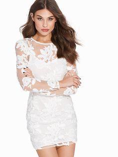 Long Sleeve Applique Mini Dress - Topshop - Elfenben - Festkjoler - Tøj - Kvinde - Nelly.com