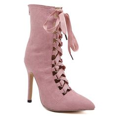 Stiletto Heel Tie Up Short Boots #>=#>=#>=#>=#> Click on the pin to check out discount price, color, size, shipping, etc. Save and like it!