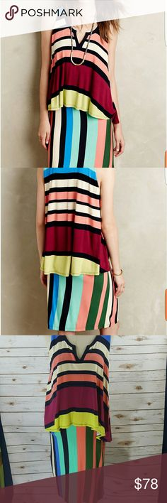 """Maeve layered Davina dress Multicolored Maeve dress with flounce layer. Material stretches. Bust 38"""" Hips 38""""  Length 39"""" (shoulder to hem) Anthropologie Dresses Midi"""