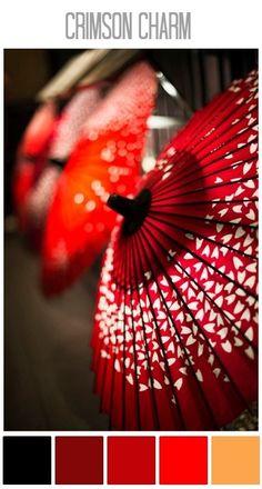 Crimson Umbrella Umbrella Art, Under My Umbrella, Japan Design, Japanese Culture, Japanese Art, Japanese Style, Japan Kultur, Memoirs Of A Geisha, Umbrellas Parasols