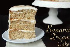 layered cake, banana cake, cream cheese, frosting, icing, cream cheese frosting, cinnamon, dessert