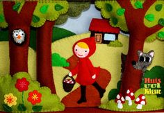 Little Red Riding Hood quiet book pages. Diy Quiet Books, Baby Quiet Book, Felt Quiet Books, Diy Fairy Door, Fairy Tale Crafts, Flannel Board Stories, Busy Book, Felt Fabric, Felt Art