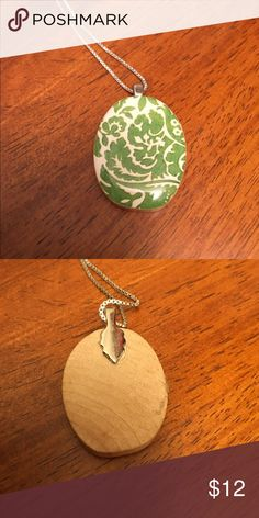 🌼DONATING TOMORROW🌼Pretty 'brocade'  pendant 🌼DONATING SOON🌼 (Pendant only) green and cream brocade pattern with wood backing. Jewelry Necklaces
