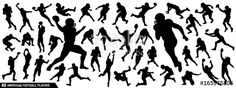 Vector: American Football Players Silhouettes , vector pack, various pose set